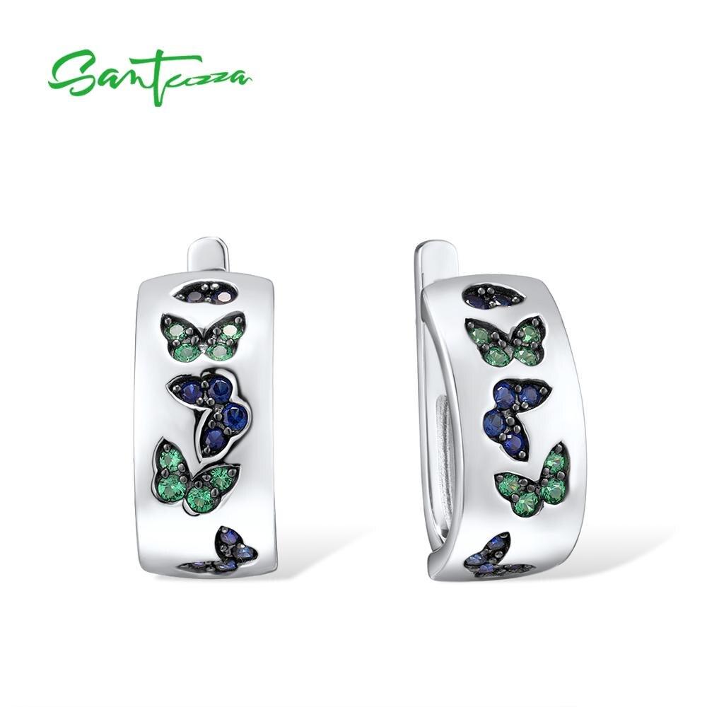 SANTUZZA Silver Earrings For Women 925 Sterling Silver Created Blue Sapphire Green Spinel Elegant Butterfly Party Fine Jewelry