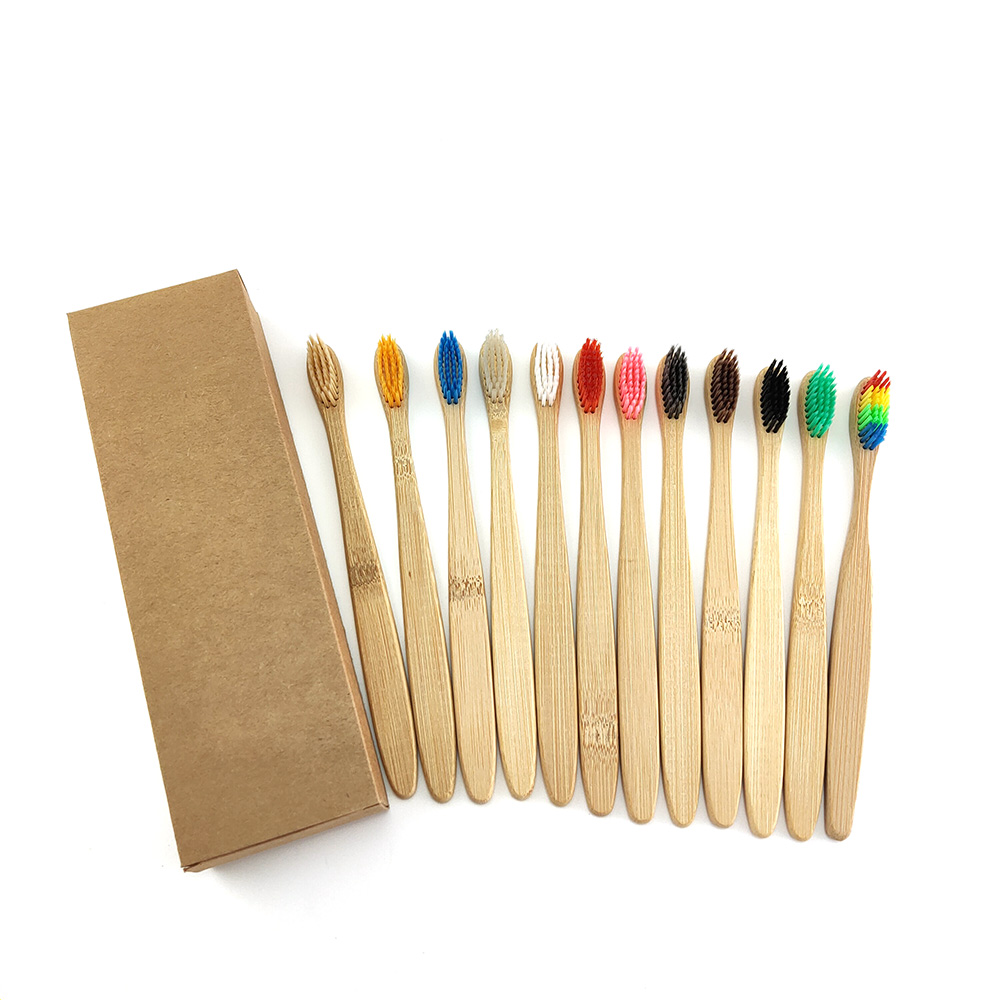 12pcs/Pack Mixed Color Bamboo Toothbrush Eco Friendly Wooden Tooth Brush Soft Bristle Tip Charcoal Adults Oral Care Toothbrush