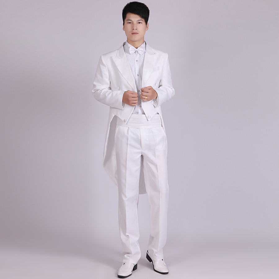 Retro White Custom Mens Wedding Suits Peaked Lapel Tailcoat Slim Grooms Tuxedo Two Pieces Swallowtail Suit (Jacket+Pants)