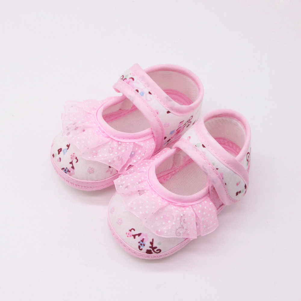 Newborn Baby Girls Soft Shoes Soled Lace Floral Print Footwear Crib Shoes