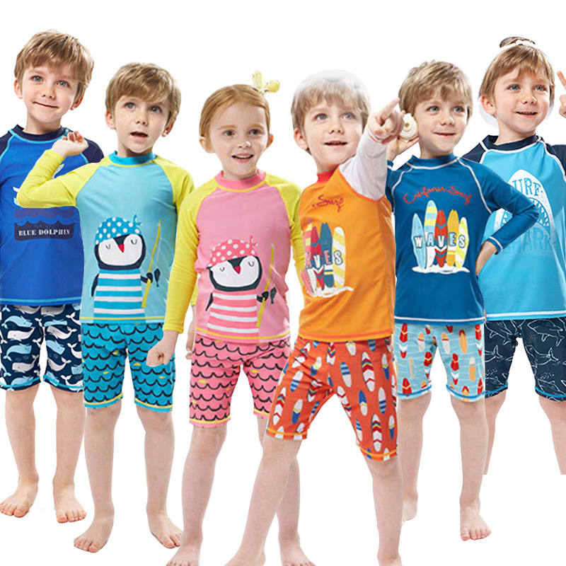 Kids Boys Swimwear Fashion Swimming Bathing Surfing Beathwear Swimsuit Set Tops+Pants NoCap 2Pcs Children Boys Swimwear Suit Kid