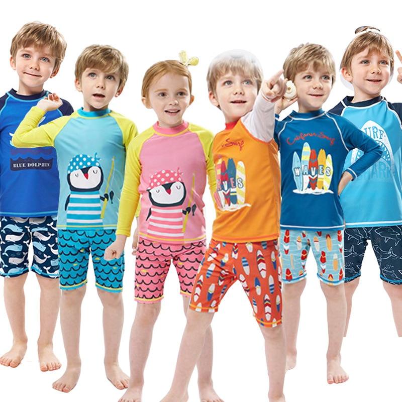 Kids Boys Swimwear Fashion Swimming Bathing Surfing Beathwear Swimsuit Set Tops+Pants NoCap 2Pcs Children Boys Swimwear Suit Kid