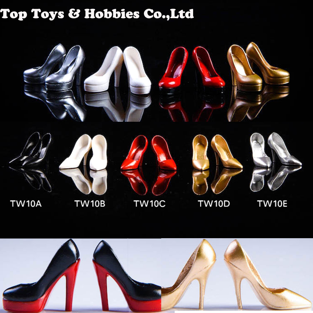 TW09 TW10 1/12 Scale Female Thick-soled High Heels Shoes Empty Inside Ladies Girl PVS Shoes For 6