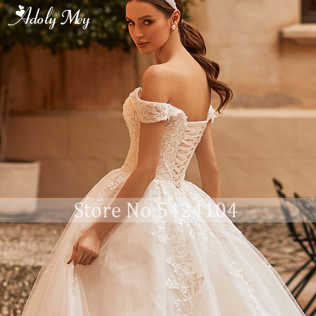Adoly Mey Gorgeous Appliques Sparkly Tulle A-Line Wedding Dress 2021 Luxury Sweetheart Neck Beading Lace Up Princess Bridal Gown 4