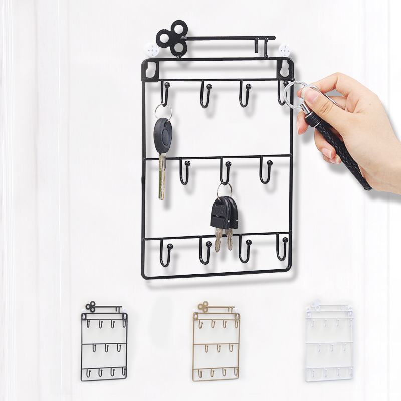 Wall Key Hook Wrought Iron Racks Hanging Basket Multi-function Storage Creative Wall Decoration Mounted Wall Hook Minimalist