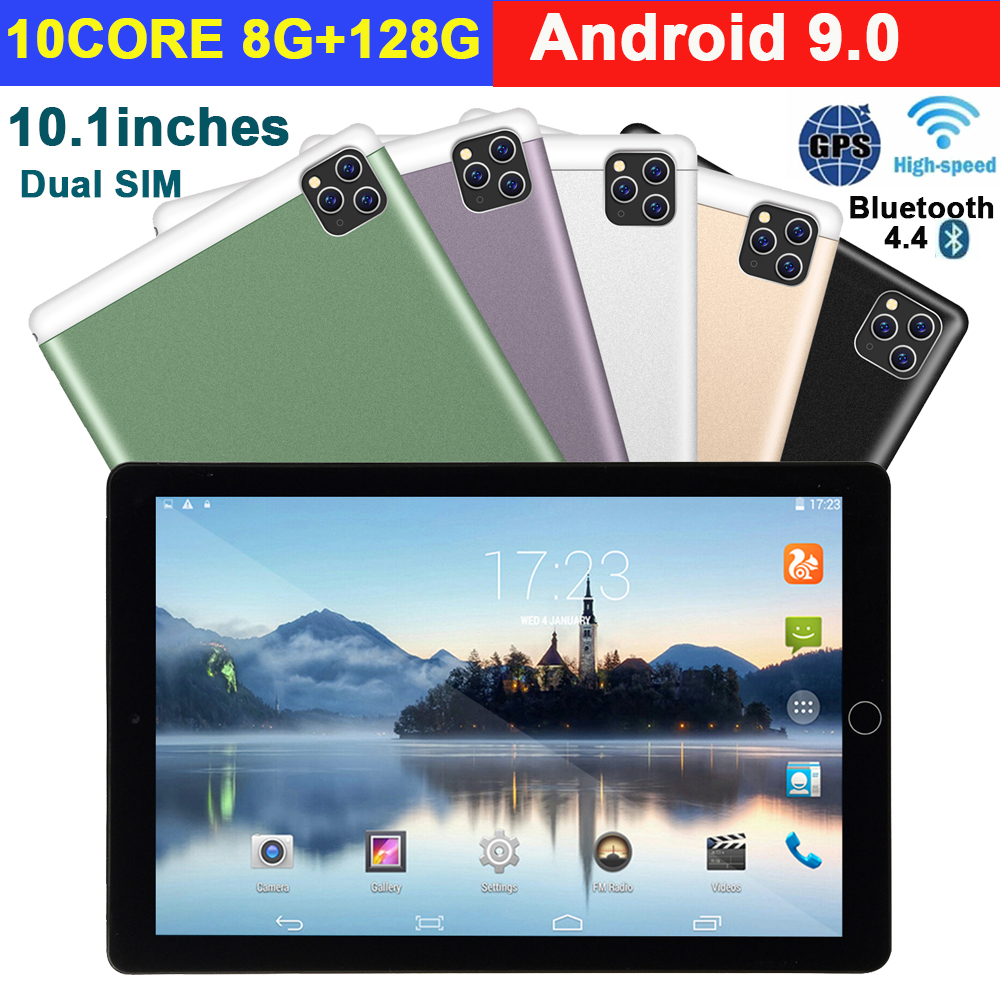 2020 New 10 Inch Tablet Pc Android 9.0 8G+128G Wifi Tablette 3G Phone Call Dual SIM Dual Camera GPS Bluetooth Android Tablets