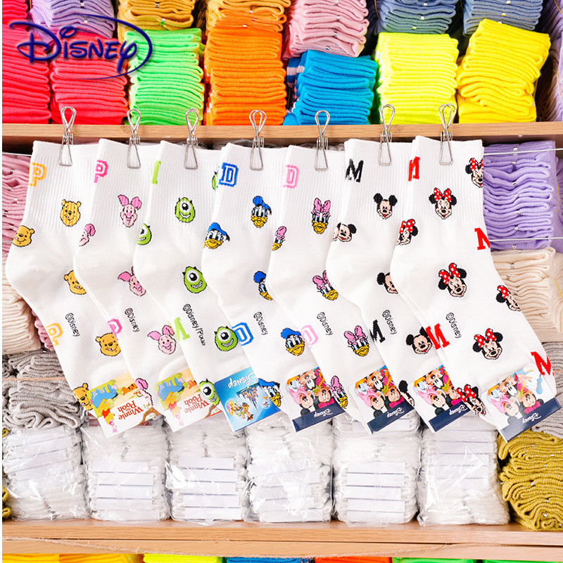 Disney Women Cotton Socks Cute Mickey Mouse Women Socks Casual Animal Mid Socks Gril Socks 35-40