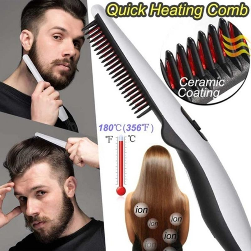 Men Women Multifunctional Electric Styling Comb Quick Heating Hair Beard Straightener Brush Salon Hairdressing Tools Travel Port