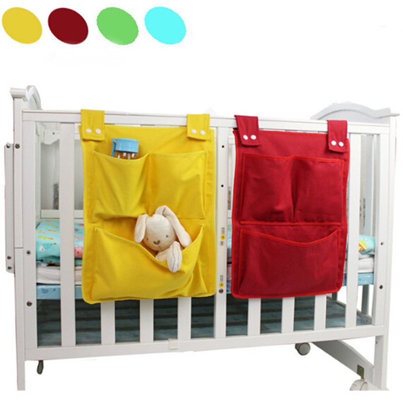 Cartoon Rooms Nursery Hanging Storage Bag Baby Cot Bed Crib Organizer Toy Diaper Pocket For Newborn Crib Bedding Set 45*35cm