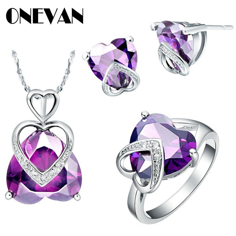 Pendant Necklace Jewelry-Sets Earrings Crystal Rhinestone Silver-Plated Wedding-Party