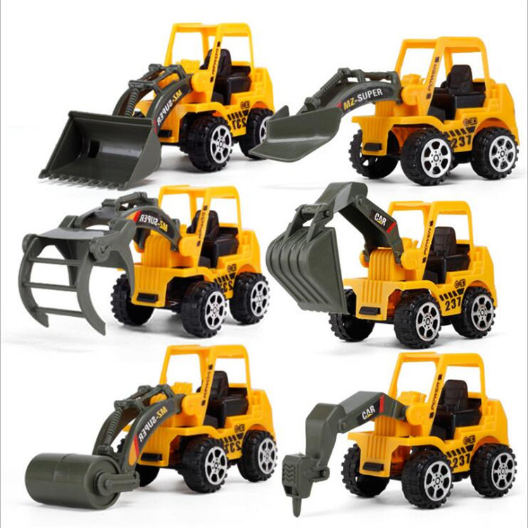 WEPBEL 6 Styles Mini Diecast Plastic Construction Vehicle Engineering Cars Excavator Model Toys For Children Boys Gift