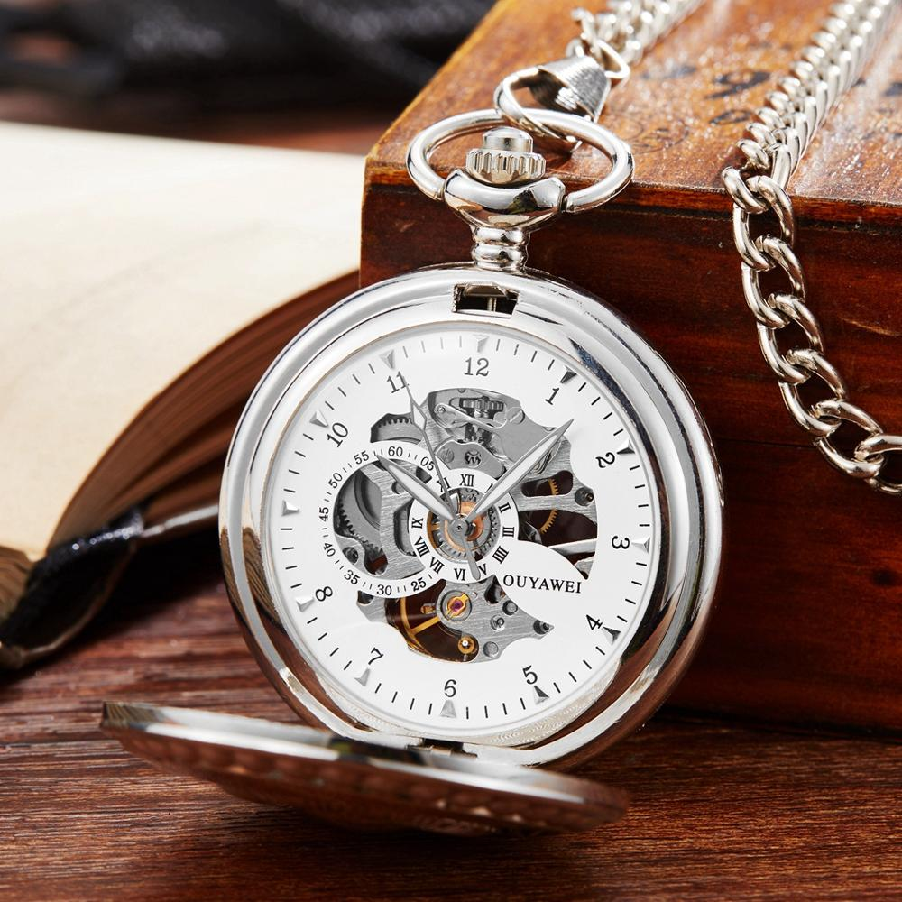 OYW Hand Winding Mechanical Men Pocket Watch Vintage Silver  Skeleton Dial Fob Watch Fashion Necklace Chain Watch Weeding Gifts