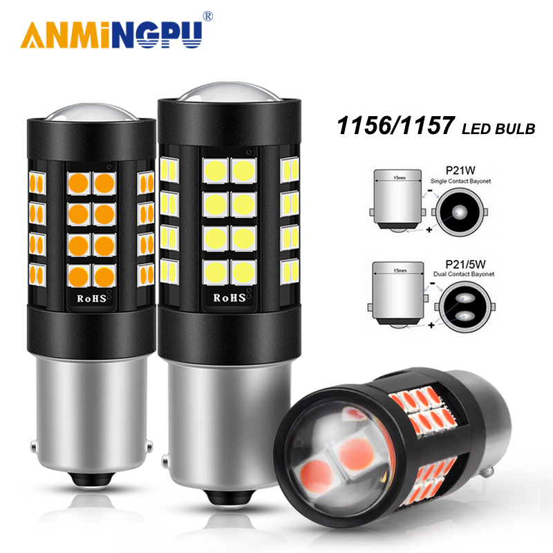 ANMINGPU 2X Signal Lamp 1157 BAY15D <font><b>Led</b></font> P21/<font><b>5W</b></font> 3030SMD 1156 <font><b>BA15S</b></font> P21W <font><b>Led</b></font> BAU15S PY21W <font><b>R5W</b></font> <font><b>12V</b></font> Turn Signal Brake Backup Light image