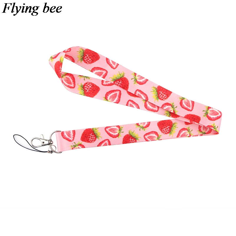 Flyingbee Strawberry Keychain Fruit Creative Phone Lanyard Women Fashion Strap Neck Lanyards For ID Card Phone Keys X0619