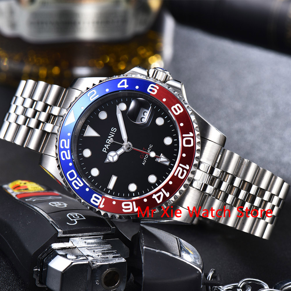 Parnis 40mm Automatic Mechanical GMT Watch Men Luxury Brand Ceramic Bezel Luminous Waterproof Sapphire Calendar Wristwatch Men