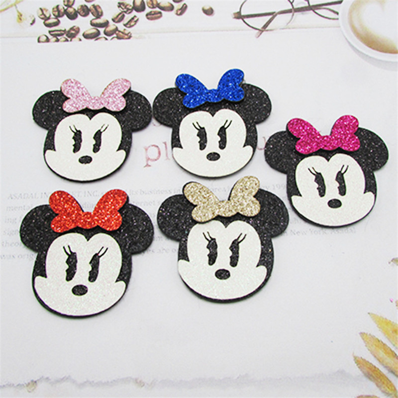 10Pcs Glitter Fabric Mickey Padded Patches Mouse Appliques For DIY Crafts Baby Hairpin Ornament Accessories