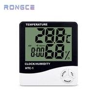 Temperatuur En Vochtigheid Sensor Elektronische Thermometer HTC-2 Met Muur Tafel Klok Voor Thuis HTC-1 Temperatuur Meter