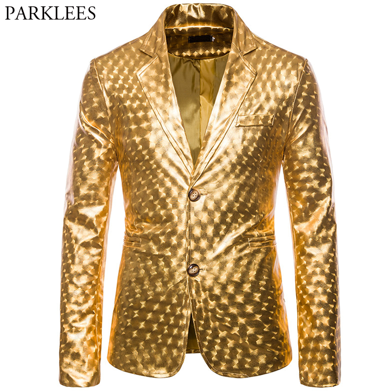 Shiny Gold Men Stage Performance Jackets Blazer Men Stylish Bronzing Two Button Men Blazer Glitter Party Nightclub Mens Clothing