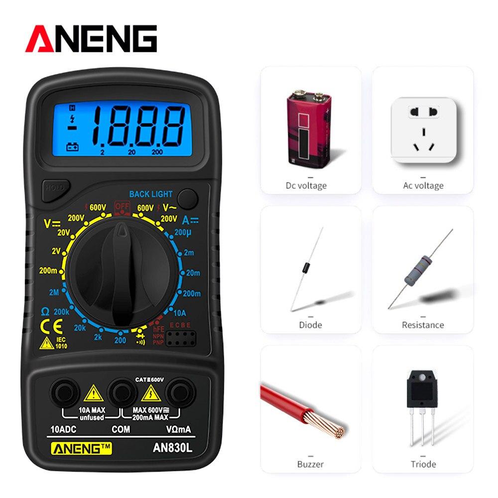 ANENG XL830L Digital Multimeter Voltmeter Ammeter AC/DC OHM Tranistor NCV Tester LCD Current  Analog Multi Meter Capacitance