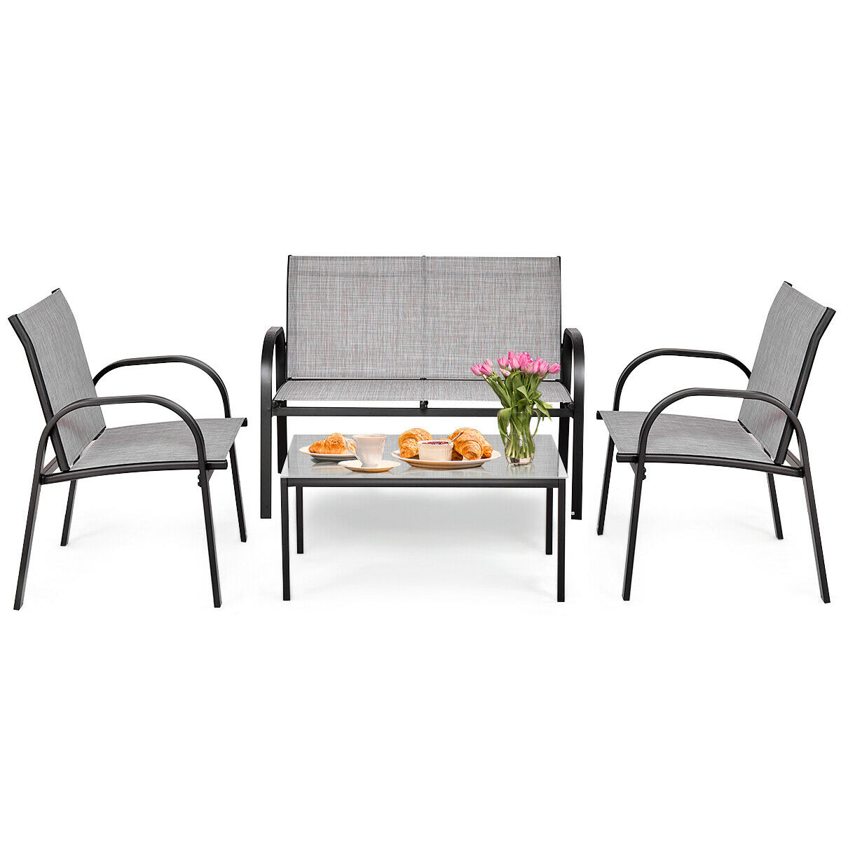 Costway 4 PCS Patio Furniture Set Sofa Coffee Table Steel Frame Garden Deck Gray