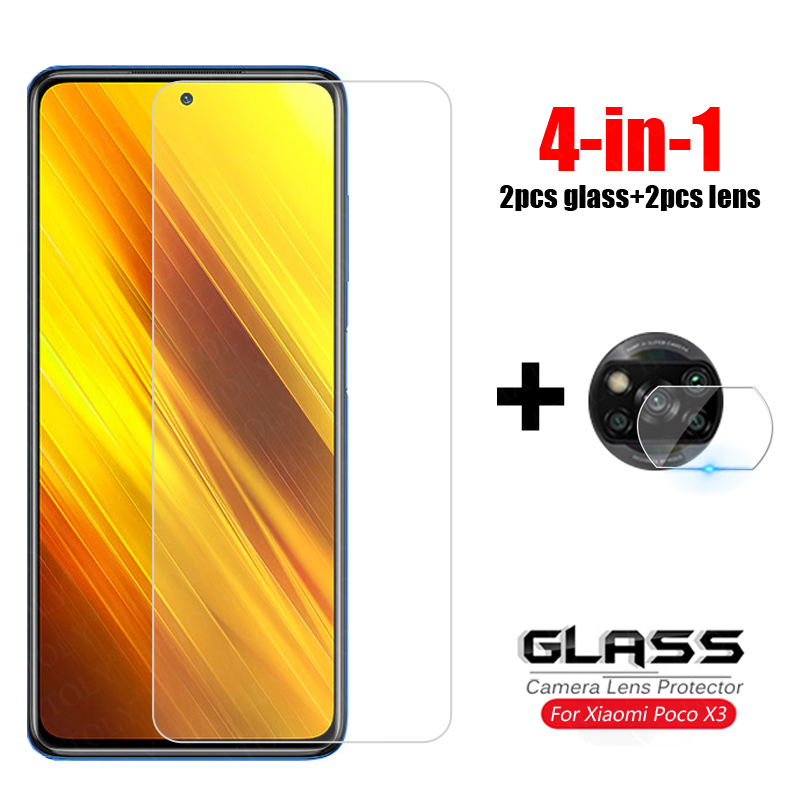 4-in-1 Glass on Poco X3 Tempered Glass For Xiaomi Redmi Note 9S 8 9 Pro Camera Lens Screen Protector