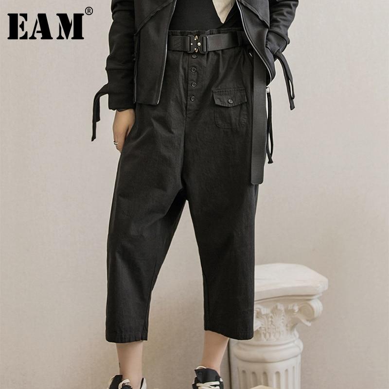 [EAM] 2019 New Autumn Winter High Elastic Waist Black Loose Wide Leg Ankle-Length Pants Women Trousers Fashion Tide JY280