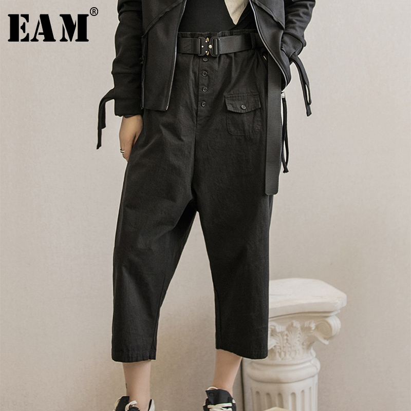 [EAM] High Elastic Waist Button Pocket Trousers New Loose Fit Ankle-length Harem Pants Women Fashion Spring Autumn 2020 1A109