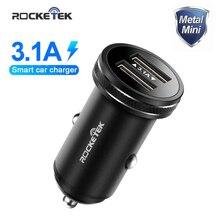 Rocketek Metal cargador Dual del coche del USB para el teléfono móvil Tablet GPS 3.1A rápido coche adaptador de cargador para iPhone Xiaomi samsung Huawei