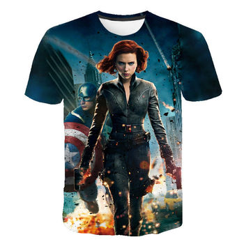 Black Widow T Shirt Men Women Summer 3D Print T-shirt Marvel Avengers Alliance Superhero kids Tees Streetwear Children Tops