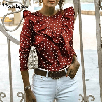 Huaxiafan ruffles blouse dot printted women blouse shirts vintage long sleeve sexy backless blouse elegant tops office lady top