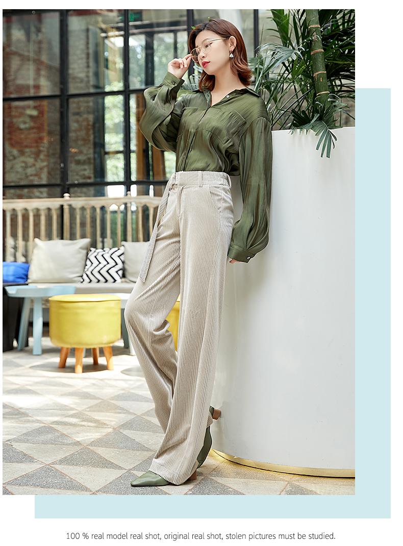 Corduroy Wide Leg Pants Women 19 Autumn Pleuche High Waist Casual Loose Full Length Pants Korean Palazzo Plus Size Trousers 4