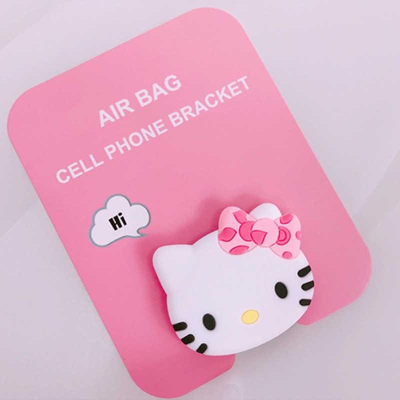 Suporte para Carro Universal Suporte Do Telefone Móvel Suporte de Gasbag Dedo Expansão para Iphone 6 7 8 Xs Xiaomi Caricatura Olá Kitty doraemon