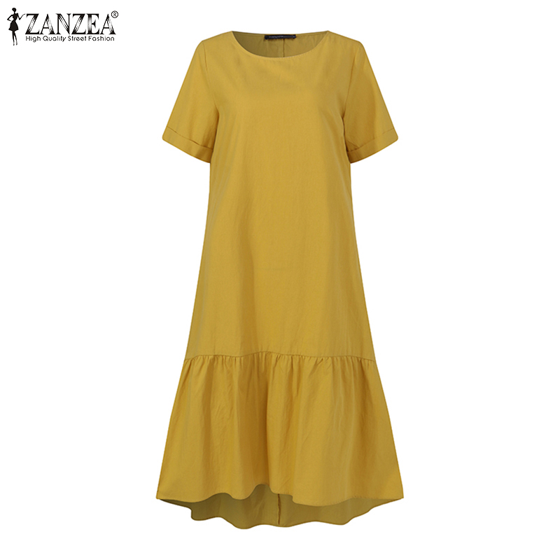 Women Dress Holiday Summer ZANZEA Short Sleeve Sundress Solid Casual Kaftan Ruffles Loose Vestidos Pockets O-Neck Robe Femme 5XL