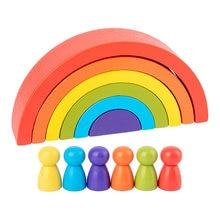 Regenbogen Bausteine Spielzeug Set Spielzeug Regenbogen Stapeln Arch Holz Stapler Spielzeug für Kinder Kreative Bausteine