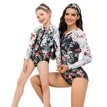 С цветочным принтом для мамы и дочки купальники одинаковые комплекты