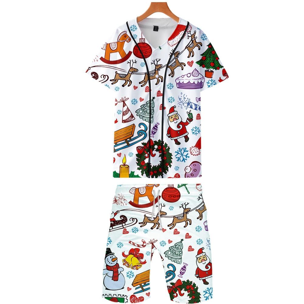 Christmas 3D Printed Two Piece Set Summer Baseball T-shirts+Casual Shorts Fashion 2019 Trendy Streetwear Clothes