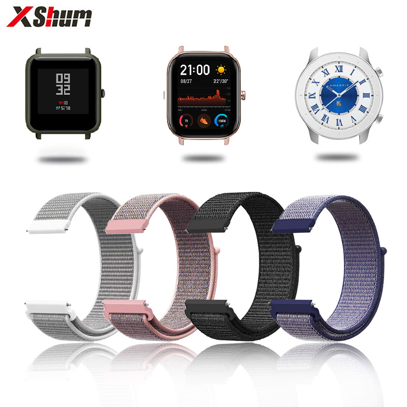 Strap For Amazfit Bip Band 20mm Nylon Bracelet For Xiaomi Amazfit GTS GTR 42mm Smart Watch Strap Accessories Wristband