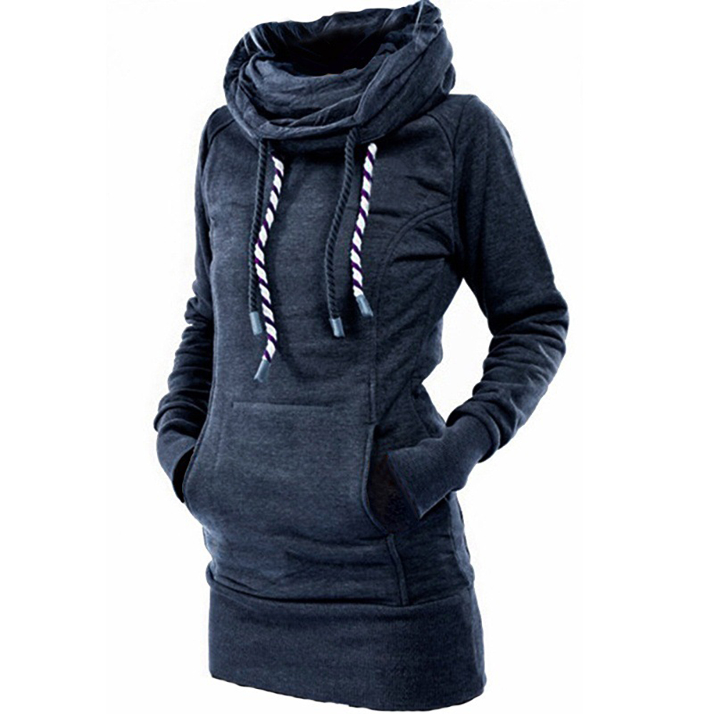 Turtleneck Pullover Robe Plain Thick Hoodies Poleron Mujer 2019 Warm Tunic Sweatshirt Embroidered Star Long Hoodie Dress Women N