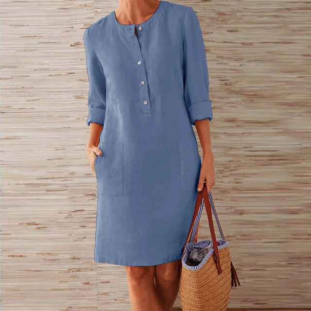 CAIDA Spring Cotton Linen Dress Fashion Button O-Neck Knee Party Dress Women Long Sleeve Pocket Solid Dresses 3