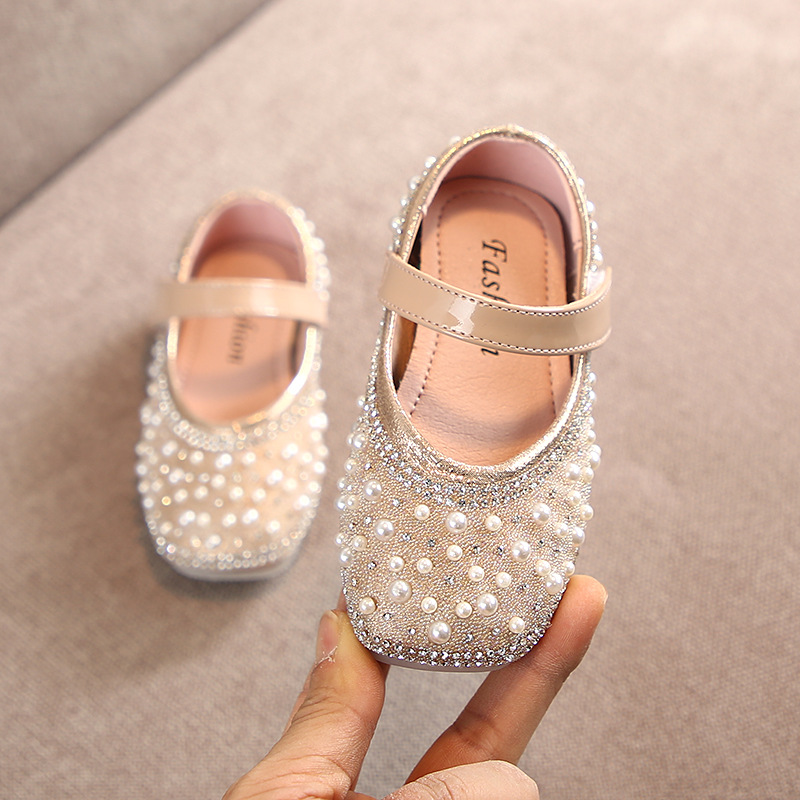 Image 2 - Cladoudou 11.5 15.5cm Brand Fashion Glitter Girls Flats Shoes with Full Pearls Gold Pink Bling Rhinestone Princess Dress ShoesLeather Shoes   -