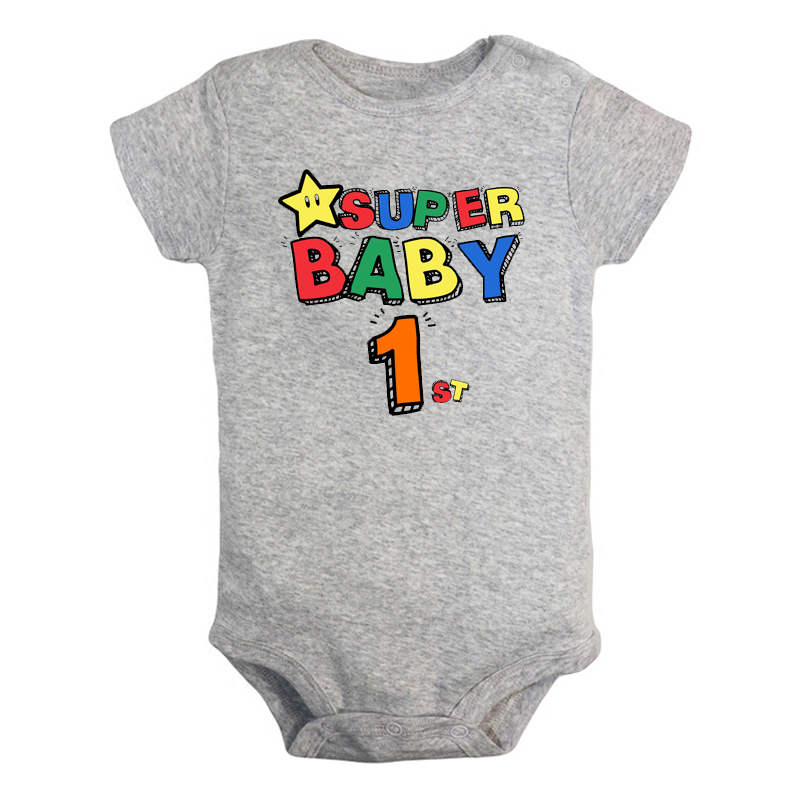 Super Baby 1 Year Old 1st Birthday Newborn Baby Girl Boys Clothes Short Sleeve Romper Jumpsuit Outfits 100% Cotton Present