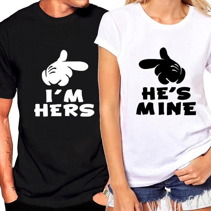 He's Mine I'M Hers Letter Print Couple T Shirt Short Sleeve O Neck Loose Lovers Tshirt 2020 Summer Women Tee Shirt Tops