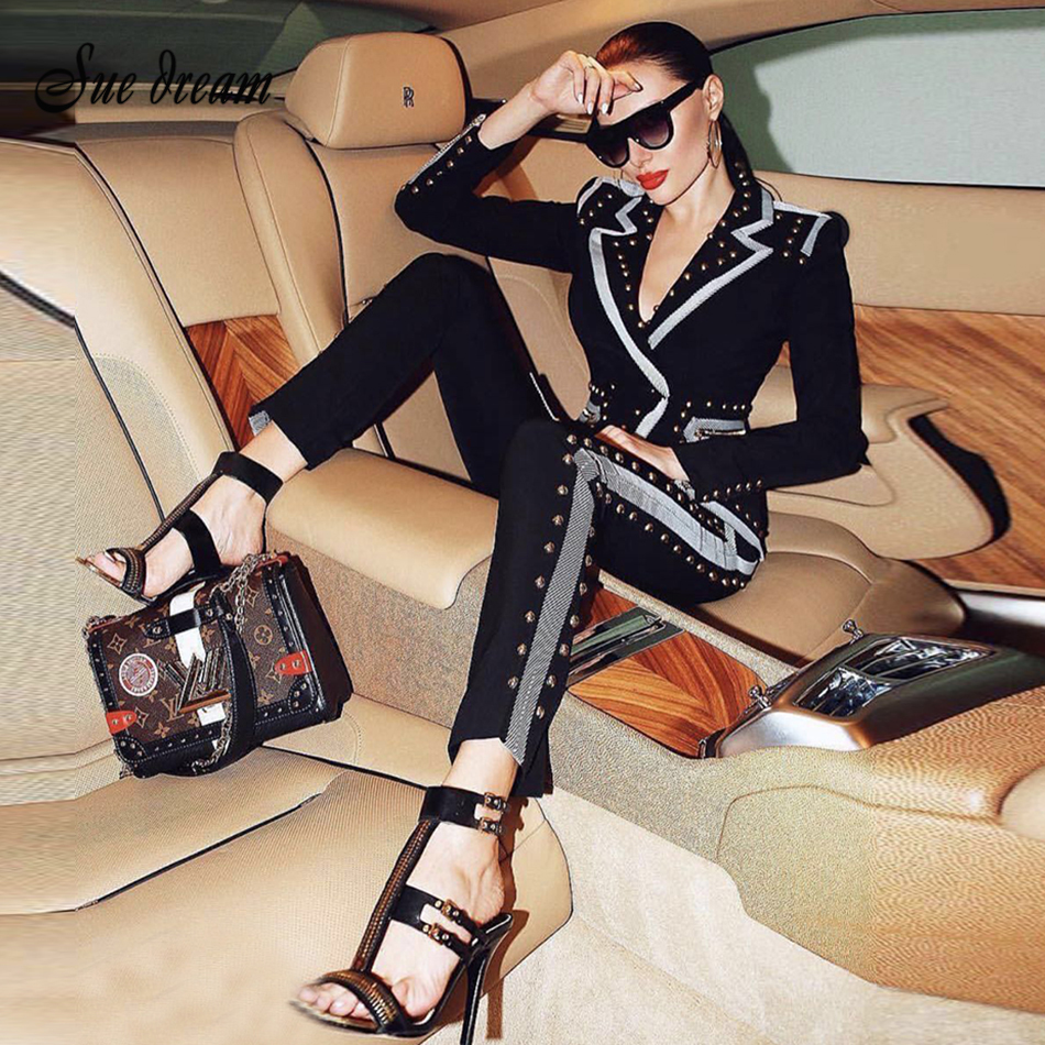 2018 New Winter Ladies Trousers Beaded Black Long-sleeved Jacket Pants 2 Two-piece Celebrity Party Women's Feet Trousers