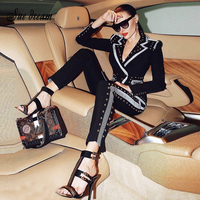 2019 New Winter Ladies Trousers Beaded Black Long sleeved Jacket Pants 2 Two piece Celebrity Party Women's Feet Trousers