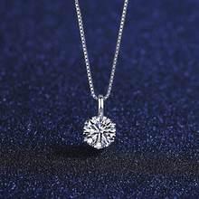 Pag & mag 1ct 6.5mm ef redondo moissanite 925 prata esterlina moissanite colar teste de diamante passado jóias finas mulher menina presente