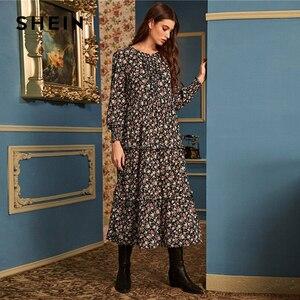 Image 3 - SHEIN Ditsy Floral Print Frill Trim Flared Dress Without Belt Women Autumn Long Sleeve High Waist Ladies Elegant Long Dresses