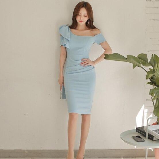 2020 nouveau été femmes robe rosée épaule hanche est Sexy robes bleu ciel 8232 DG364