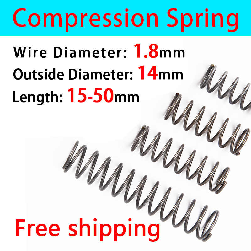10Pcs Gfpql WYanHua-Spring Pressure Spring Wire Diameter 1mm Compressed Spring Handmade DIY Parts Release Spring Outer Diameter 14mm - : -, Length : 20mm