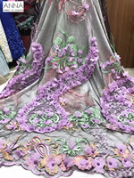 Aso Ebi Dress Heavy Beaded Tulle 3D Applique Lace Fabric African Embroidered Net Lace French Beaded Lace Fabric Sewing Dress