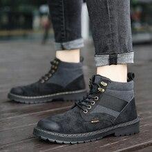 2019 new arrival Fashion flock plush winter boots men size 39-44 Lace-up shoes Ankle warm snow *L903